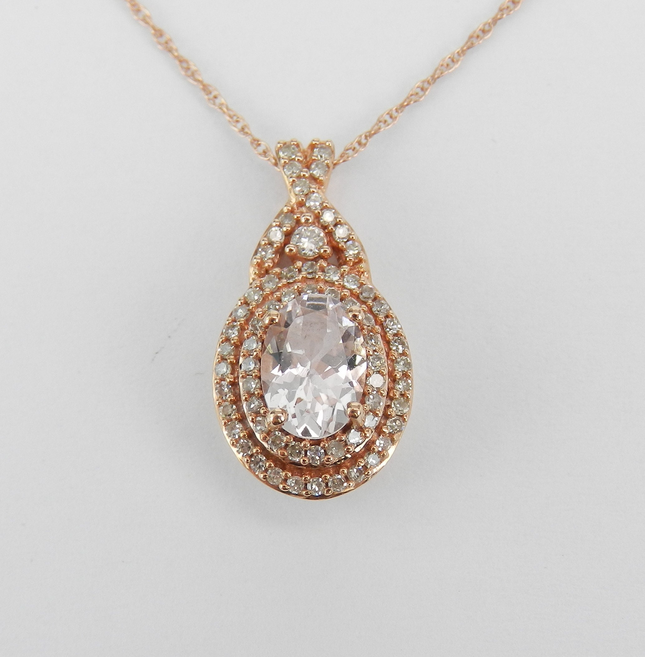 gold morganite necklace with oval in rose pendant diamonds tw