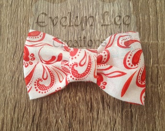 White with Red Paisley Hair Bow