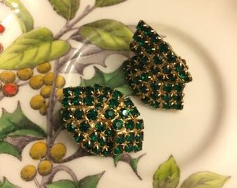 Green Rhinestone Clip Earrings