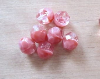 7 faceted transparent peach 8mm
