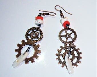 Dangling copper earrings, with wheels in copper, howlite, Pearl