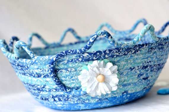 Blue Coiled Basket, Decorative Blue Basket, Soft Fiber Pottery, Handmade Batik Bowl, Modern Rope Fabric Basket, Yarn Basket