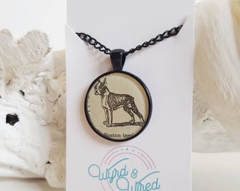 READY TO SHIP Dog Necklace - Boston Terrier - Dictionary Illustration Necklace - Recycled Vintage Book Jewelry - Book Necklace in Silver