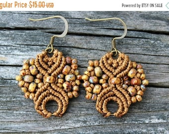 SALE Micro-Macrame Earrings - Brown Picasso