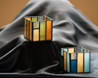 Unique Prairie Style Square Stained Glass Candleholder