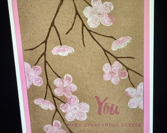 Cherry Blossom Cards--Set of 6 Greeting Cards