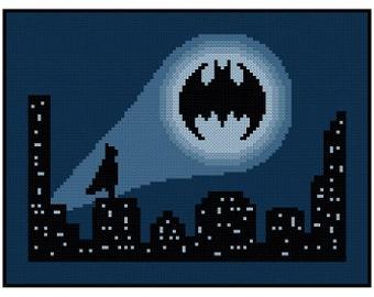 Batman - Bat Signal Cityscape - Cross Stitch PDF Pattern Instant Download