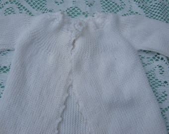 Reserved for Slean49 - 5  Gorgeous White,Pink,Blue Hand Knitted Baby Jacket for Baby Boy or Girl. & Bootees