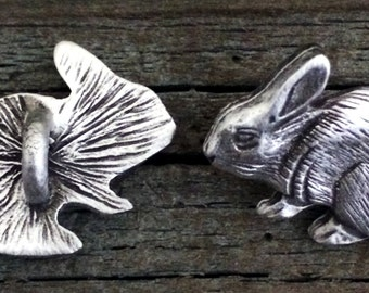 Rabbit Button | Bunny Buttons | Animal Buttons | Wildlife Buttons | Handcrafted Buttons | Fine Pewter by Treasure Cast