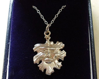 Sterling Silver Green Man Pendant With Sterling Silver 18inch Chain