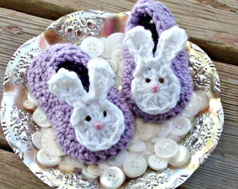 Lavender Bunny Ear Booties Easter Baby Shoes, Crochet Purple and White Baby's First Easter or Shower Gift