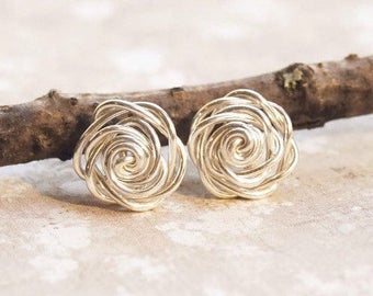 Rose Earrings, Inspirational Women Gift, Sterling Silver Stud Earrings, Bohemian Earrings Stud, Flower Earrings, Everyday Earrings Stud
