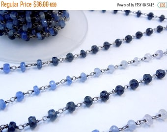 35% off Wholesale Blue Sapphire Gemstone Chain - Wire Wrapped Oxidized Sterling Silver Beaded Chain PER FOOT (CHN-381)
