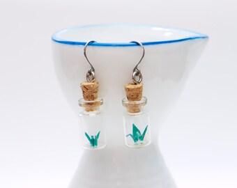 Origami earring mini green crane in miniature glass bottle