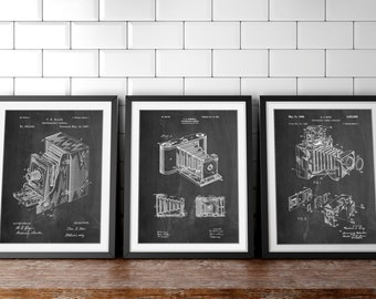 Camera Patent Posters Group of 3, Camera Patent,  Camera Decor, PP1150