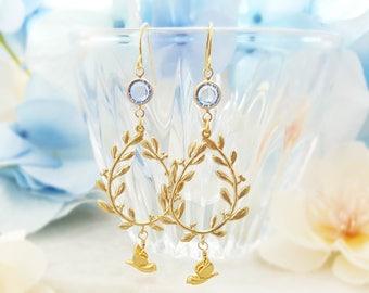 Laurel Wreath Earrings - Aquamarine Crystal Earrings - Light Sapphire Long Dangle Gold Bird Earrings - Gold Doves Cinderella Earrings E1452