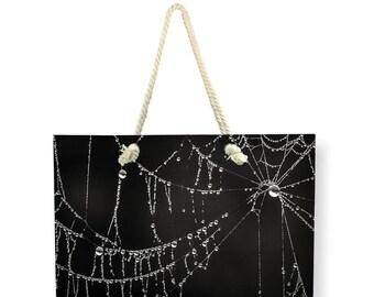 Gothic Black Canvas Weekender Bag, Beach BAG, Shoulder Bag, Printed Overnight Bag, Cob Web Travel Bag, Nature Carry On Bag, Large Canvas Bag