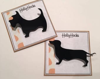 Black White Cute Animal Dog Brooches, Scottie Dog, Sausage Dog
