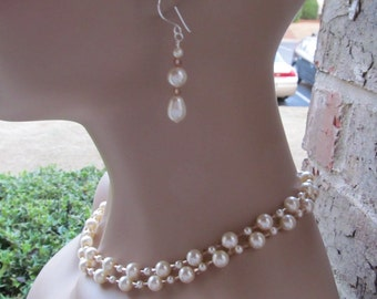 Wedding Bridesmaid Jewelry Set Double Strand Ivory Swarovski Pearls and Crystals Bridal Jewelry Set