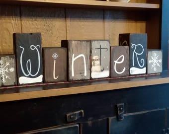 Seasonal Primitive Word Blocks/Reversible Blocks/4 Sides/Holiday Blocks