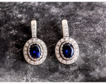 Sapphire Earrings, Antique Earrings, Vintage Earrings, Antique Sapphire Earrings, Antique Sapphire, Sterling Silver, Blue Gem, Solid Silver