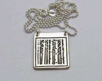 Tree Necklace, Aspen Tree Necklace, Silver Aspen Tree Necklace, Silver and Black Necklace, Fall Trees, Fall Fashion, Winter Trees