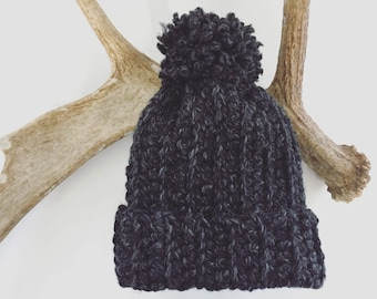 Gray  Hat  Pom Pom | Slouch Beanie | Chunky Hat | Crocheted Hat | Charcoal | Wool Blend | Adult | Handmade | Soft