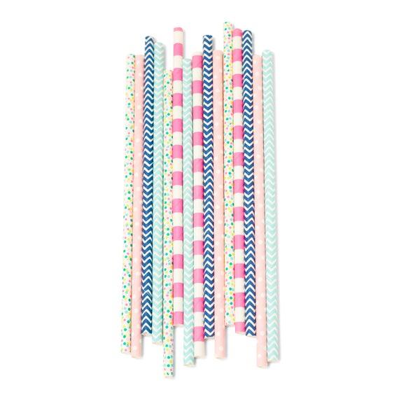 Gender Reveal Straw, Paper Straw, Blue Straw, Pink Straw, Gender Reveal Decor Blue and Pink Buffet Baby Shower Gender Neutral Birthday Decor