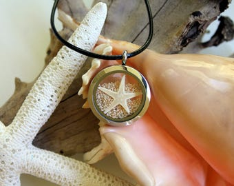 Australian Star Sand with Starfish silver pendant, necklace, great barrier reef