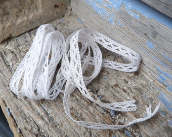 Vintage Antique old French 1900 white handmade cotton lace 2 yards