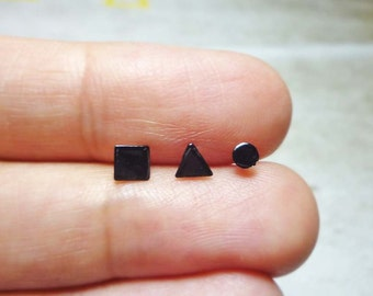 Geometric Set Stud Earrings, Sterling Silver Earrings, Mismatched earrings