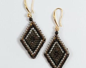 Black diamond earrings, diamond shape earrings, beads earrings, handmade from Thailand, every day earrings, dangle earrings, square earrings