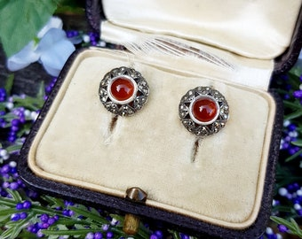 Vintage Art Deco Sterling Silver Marcasite and Carnelian Cabochon Stud Earrings