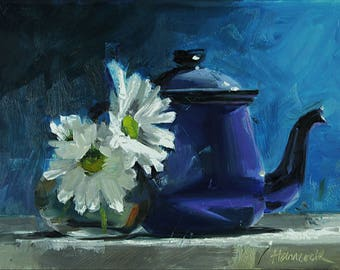 Blue Metal Teapot on Blue with Chrysanthemums