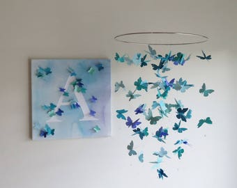 Butterfly Mobile - Nursery Mobile, Baby Mobile, Gifts For Her, Butterflies, Blue Mobile, Hanging Mobile, Home Decor, Paper Mobile.