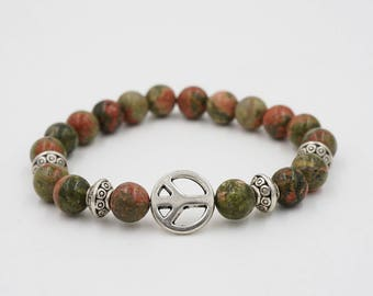 Peace Brown Green Silver Beaded Bracelet Stretchy FREE SHIPPING