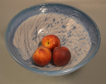 Halley's comet - blue and white bowl,starship , bread bowl, fruit bowl, pasta bowl, galaxy of food bowl,stoneware bowl,fluted bowl