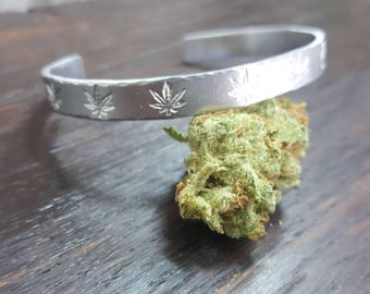 Cannabis Patterned Cuff Bracelet, Hand Stamped Cannabis Jewelry by The Toke Shop