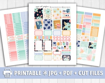 PLANNER GIRL Printable Planner Stickers/for use with Erin Condren/Weekly Kit/Planner Addict Glitter Floral Washi Paper Clips Coffee