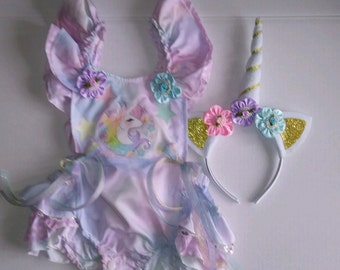 Pastel Unicorn Baby Infant Girl Romper and Headband Sun suit Outfit Birthday Cake Smash