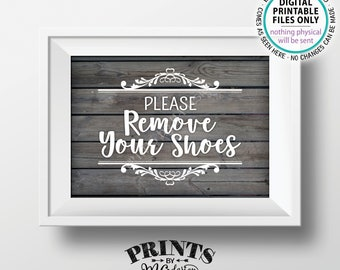 """Please Remove Your Shoes Sign, Take Off Your Shoes Sign, Mudroom, Entryway, Entrance, PRINTABLE 5x7"""" Rustic Wood Style Sign for Home <ID>"""