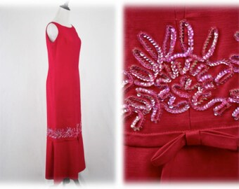 1960s Emma Domb Pink Party Dress Long Maxi Beaded