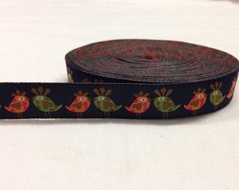 Polyester webbing with decorative colored birds 16 mm