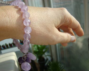 Amethyst Bracelet with amethyst charms.