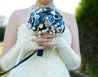 The 'Something Blue' Button and Brooch Bouquet - Blue and White Button Wedding Bouquet (large)