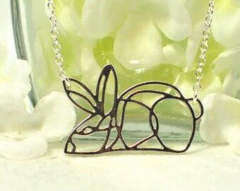 Bunny Pendant Rabbit Jewelry Necklace Bugs - Rabbit Pendant - Bunny Jewelry - Bunny Rabbit Silhouette - Pet Bunny - Woodland Animal - Nature