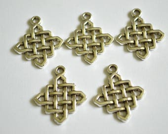 5 x Celtic Knot Charms  ~ Antique Silver ~  Lead and Nickel Free