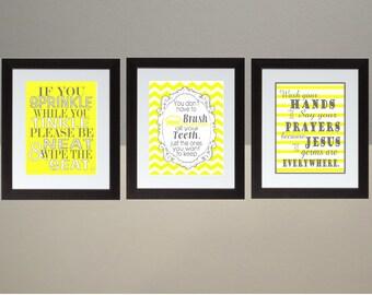 Yellow Gray Chevron Bathroom Wall Art Print Set Poster 8x10 Digital  Download Printable E Print