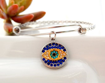 Evil Eye Bangle - Evil eye - Rhinestone Jewelry - Stacking Bracelet- Greek Evil Eye - Stacking Bangles - Charm bangle - Eye Bracelet