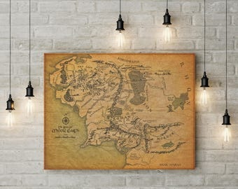 middle earth map middle earth poster tolkien map lotr poster lord of the rings hobbit art poster fantasy maps gift poster nursery